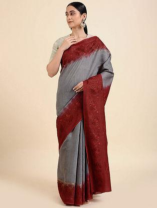 Grey-Red Hand Embroidered Muga Silk Saree