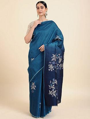 Blue Hand Embroidered Muga Silk Saree