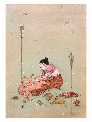 Shri Mahaveer Swamis Goddess Parvati and Lord Ganesha Digital Print on Archival Paper