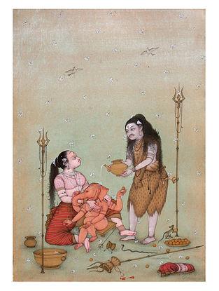Shri Mahaveer Swamis Goddess Parvati and Lord Shiva with Lord Ganesha Digital Print on Archival
