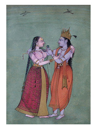 Shri Mahaveer Swamis Radha and Krishna Digital Print on Archival Paper