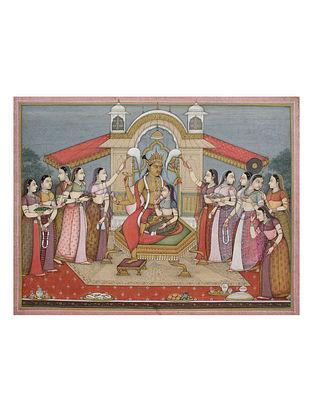 Shri Mahaveer Swamis Goddess Lakshmi and Lord Narayana Digital Print on Archival Paper