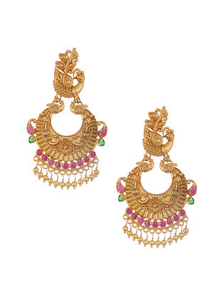 Pink Green Gold Tone Silver Earrings