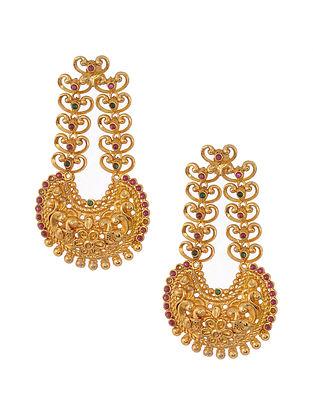 Green Pink Gold Tone Silver Earrings