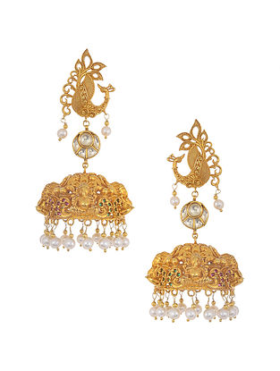 Green Pink Gold Tone Silver Jhumki Earrings with Pearls