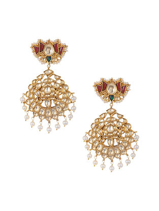 Green Maroon Gold Tone Kundan Silver Earrings with Pearls