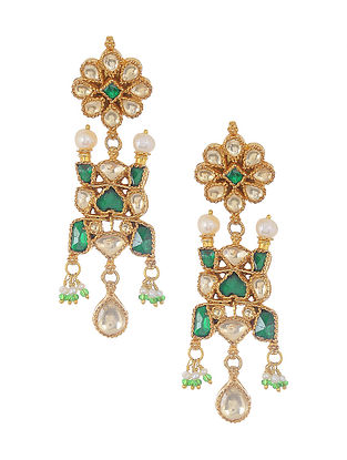 Green Gold Tone Kundan Silver Earrings with Pearls