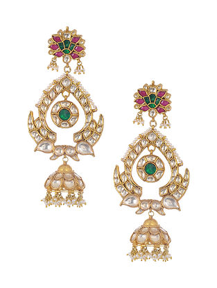 Green Pink Gold Tone Kundan Silver Jhumki Earrings with Pearls