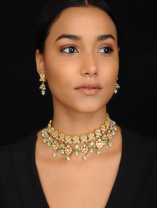 Green Gold Tone Kundan Silver Necklace with Earrings (Set of 2)