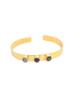 Blue Gold Plated Agate Brass Cuff