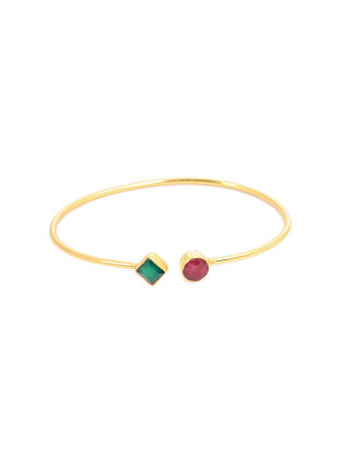 Red Green Gold Plated Adjustable Agate Brass Cuff