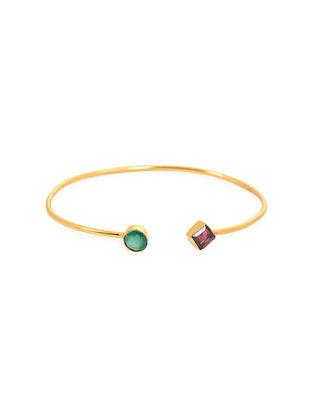 Purple Green Gold Plated Adjustable Agate Brass Cuff