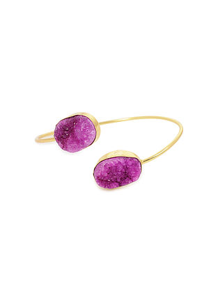Purple Gold Plated Adjustable Agate Brass Cuff