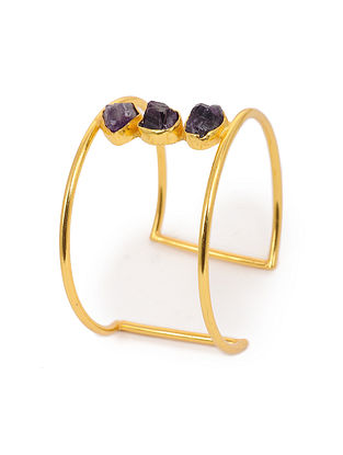 Purple Gold Plated Agate Adjustable Brass Cuff