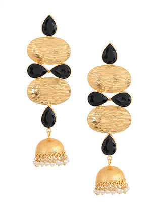 Black Gold Plated Brass Jhumkis
