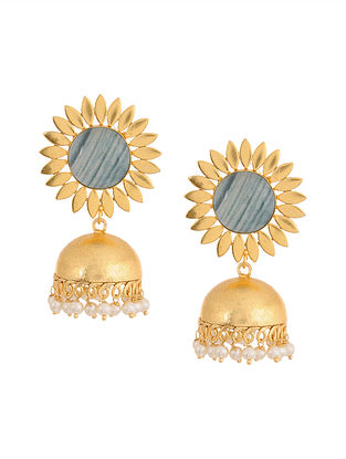 Grey Gold Plated Brass Jhumkis