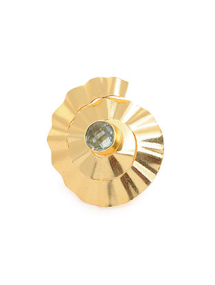 Grey Gold Plated Adjustable Brass Ring