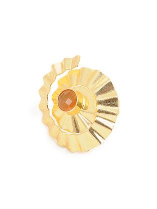 Orange Gold Plated Adjustable Brass Ring