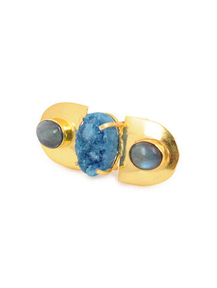 Blue Gold Plated Adjustable Agate Brass Ring