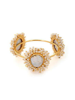 Gold Tone Handcrafted Cuff with Baroque Pearls