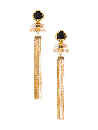 Black Gold Tone Handcrafted Earrings with Baroque Pearls