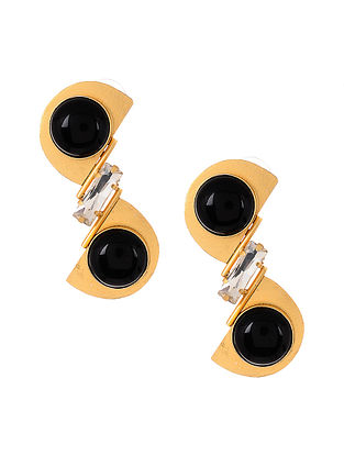 Black Gold Tone Handcrafted Earrings