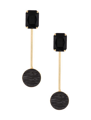 Black Grey Gold Tone Handcrafted Earrings