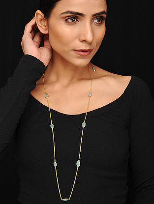 Gold Tone Handcrafted Necklace with Green Agate