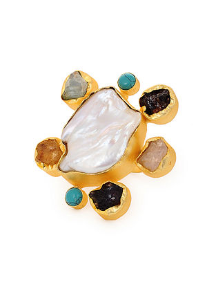 Multicolored Gold Tone Handcrafted Ring (Ring Size: 7)