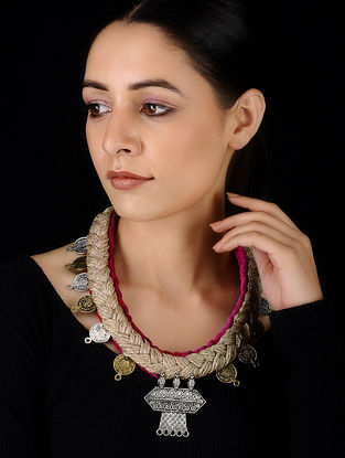 Pink Dual Tone Velvet and Jute Handcrafted Necklace