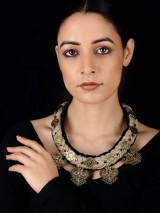 Black Gold Tone Velvet and Jute Handcrafted Necklace