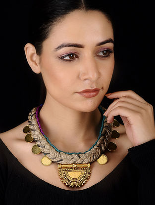 Blue-Purple Gold Tone Silk and Jute Handcrafted Necklace