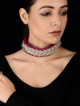Pink Silver Tone Velvet and Jute Handcrafted Necklace