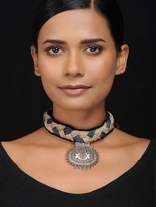 Black-Grey Gold Tone Velvet and Jute Handcrafted Necklace