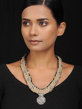 Black Silver Tone Cotton and Jute Handcrafted Necklace