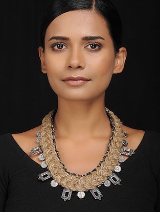 Brown Silver Tone Silk and Jute Handcrafted Necklace