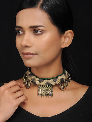 Green-Grey Gold Tone Cotton and Jute Handcrafted Necklace