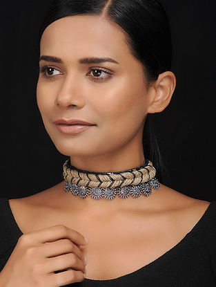 Grey Silver Tone Silk and Jute Handcrafted Necklace