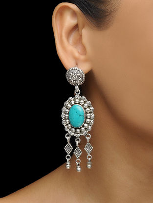 Turquoise Silver Earrings with Floral Motif