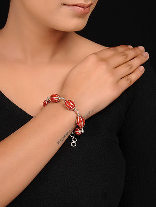 Red Enameled Silver Bracelet