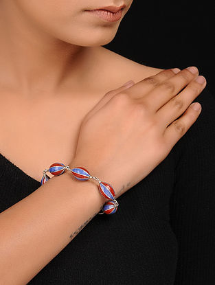 Red-Blue Enameled Silver Bracelet