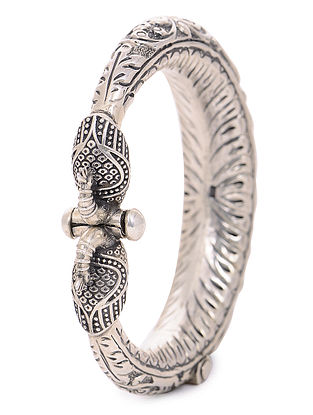 Hinged Opening Tribal Silver Bangle with Peacock Design (Bangle Size -2/12)