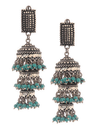 Turquoise Silver Jhumkis