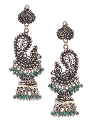Onyx Silver Jhumkis with Peacock Design