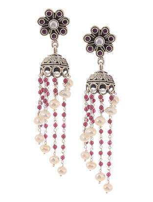 Pink Silver Jhumkis with Pearls