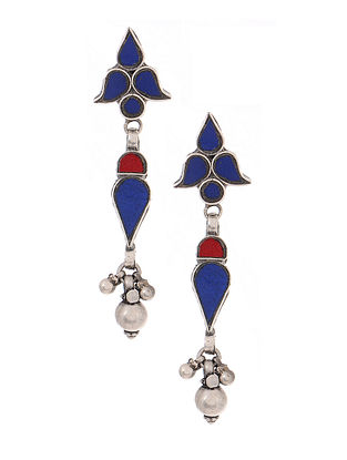 Blue-Red Glass Tribal Silver Earrings