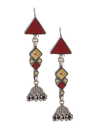 Red-Yellow Glass Tribal Silver Jhumkis