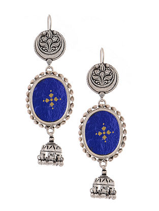 Blue Glass Tribal Silver Jhumkis