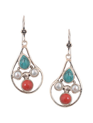Coral and Turquoise Silver Earrings with Pearls