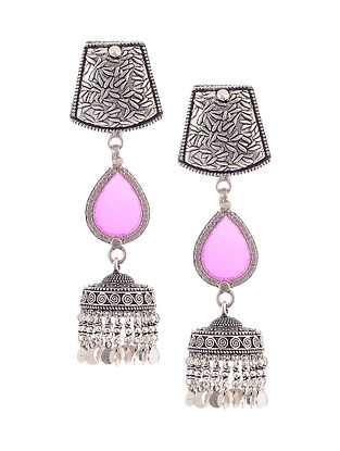 Pink Glass Silver Jhumkis